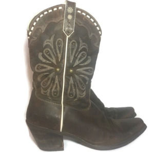 ARIAT 7.5 Leather Western Embroidered Heeled Boot